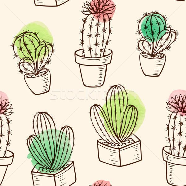 Minta kaktusz virágcserép klasszikus vektor végtelen minta Stock fotó © Artspace