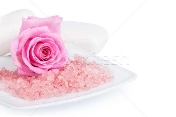 Rózsaszín rózsa aromás só szappan fehér rózsa Stock fotó © Artspace