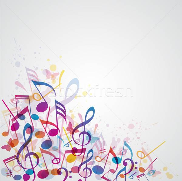 Zene absztrakt háttér vektor jegyzetek Stock fotó © Artspace