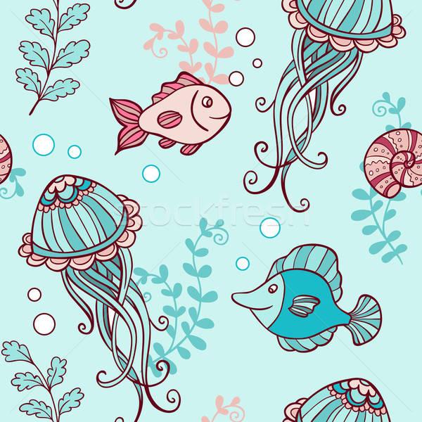 Végtelen minta meduza hal vektor tengeri víz Stock fotó © Artspace