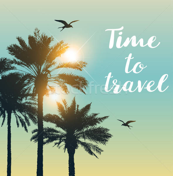 Travel background with palms Stock photo © Artspace