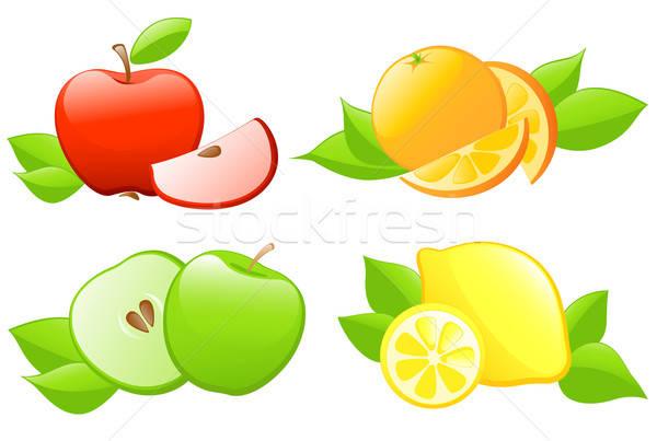 Stock fotó: Gyümölcs · ikon · szett · fényes · vektor · ikonok · levél