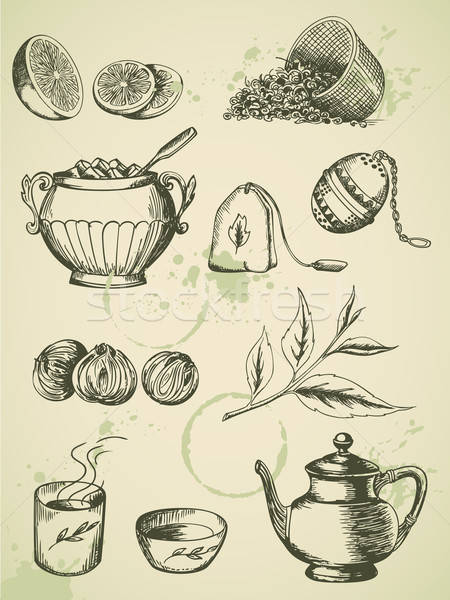 Vintage té establecer vector dibujado a mano iconos Foto stock © Artspace