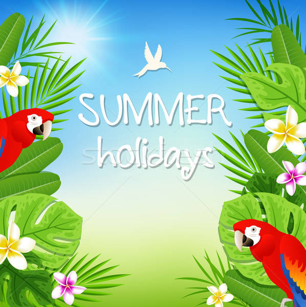 Tropical leaves and red parrots Stock photo © Artspace