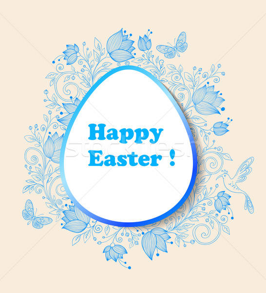 Easter background with blue flowers Stock photo © Artspace