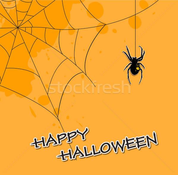 Halloween spider arancione vettore web nero Foto d'archivio © Artspace