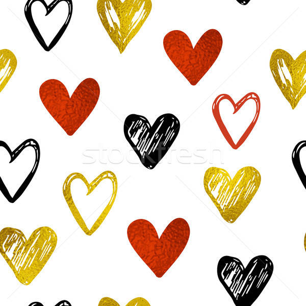 Pattern with golden and red hearts Stock photo © Artspace