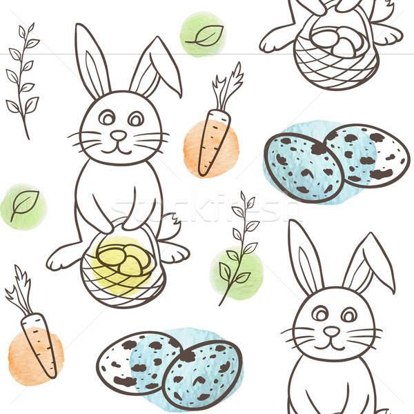 Húsvét végtelen minta nyúl tojások kézzel rajzolt firka Stock fotó © Artspace