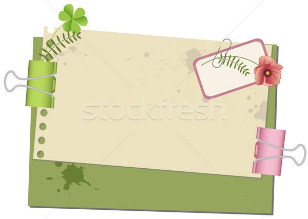Starego papieru starych papieru zielone koniczyna retro Zdjęcia stock © Artspace