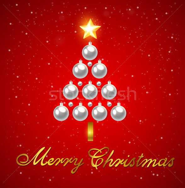 Christmas tree of silver decorations Stock photo © Artspace