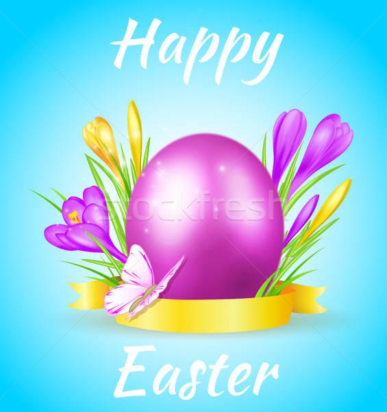 Húsvét kártya ibolya tojás pillangó kék Stock fotó © Artspace