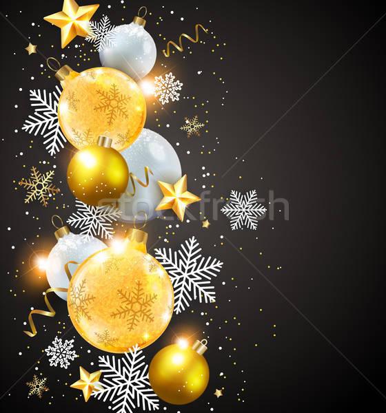Soyut vektör kar taneleri beyaz altın Stok fotoğraf © Artspace