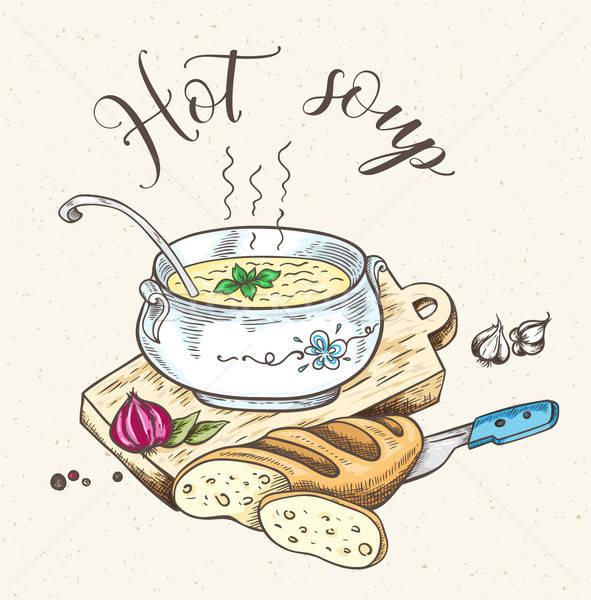 Taze sıcak çorba ekmek bağbozumu Stok fotoğraf © Artspace