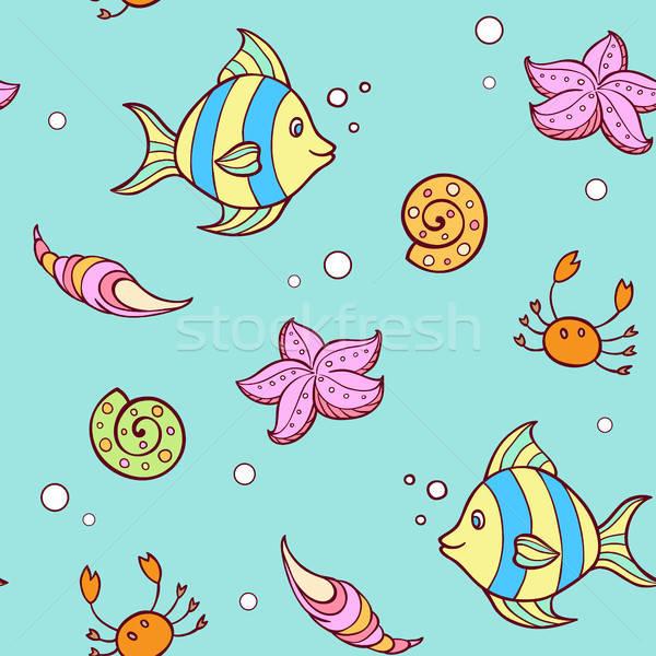 Garabato marinos patrón peces verano Foto stock © Artspace