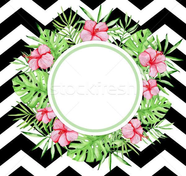 Vízfesték trópusi virágmintás szalag piros hibiszkusz Stock fotó © Artspace