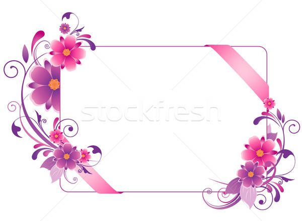 colored  banner with flowers, leaves  and ornament Stock photo © Artspace