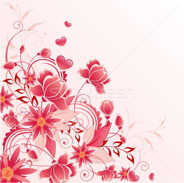 Piros virágmintás dísz virágok levelek rózsa Stock fotó © Artspace