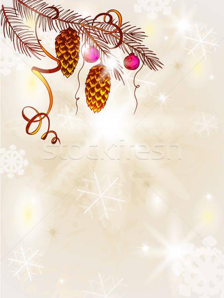 Klasszikus karácsonyfa kézzel rajzolt vektor fény terv Stock fotó © Artspace