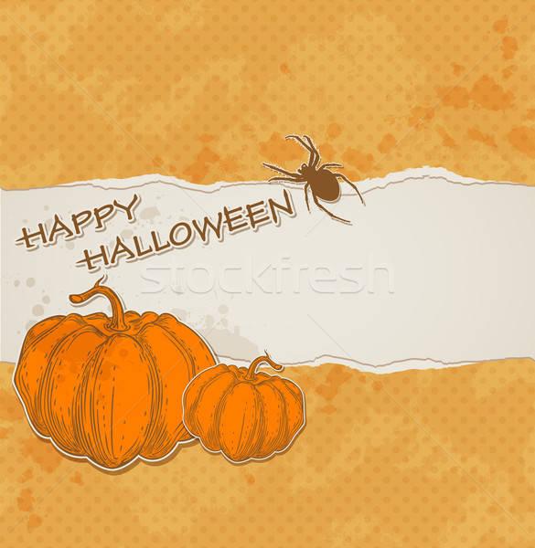 Halloween szakadt papír narancs tökök papír terv Stock fotó © Artspace
