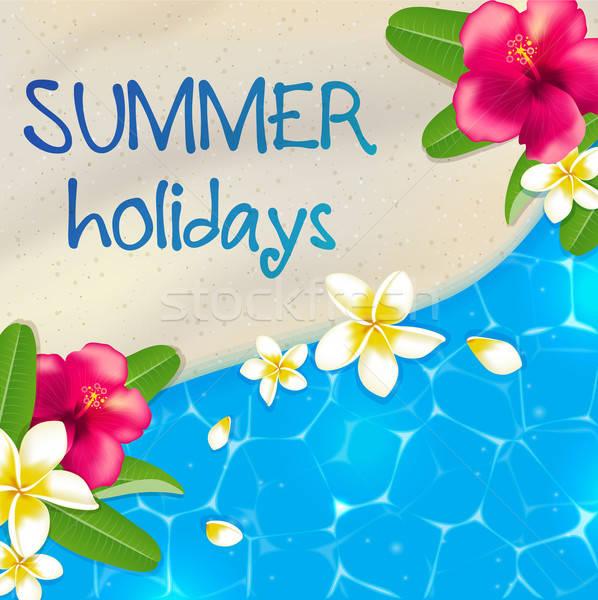 Playa de arena flores azul mar agua tropicales Foto stock © Artspace
