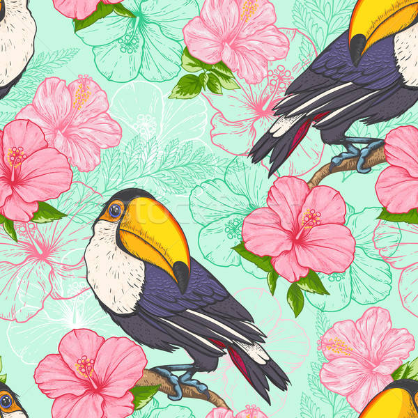 Seamless pattern with toucan Stock photo © Artspace