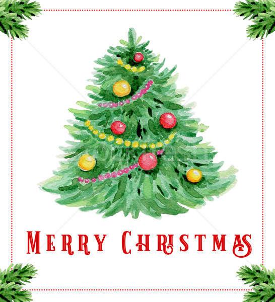 Couleur pour aquarelle Noël carte de vœux dessinés à la main vert Photo stock © Artspace