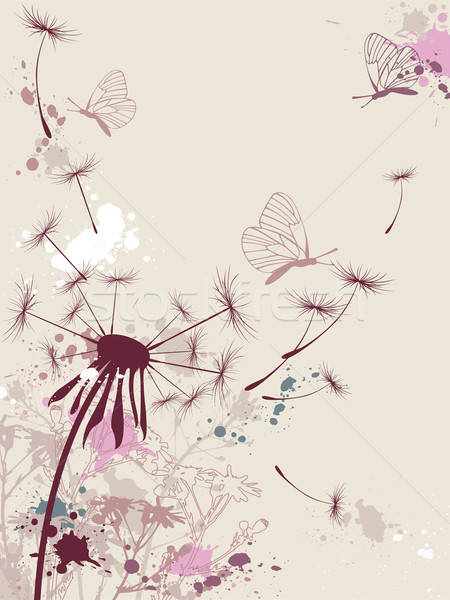 Vektör karahindiba kelebek bahar çim Stok fotoğraf © Artspace