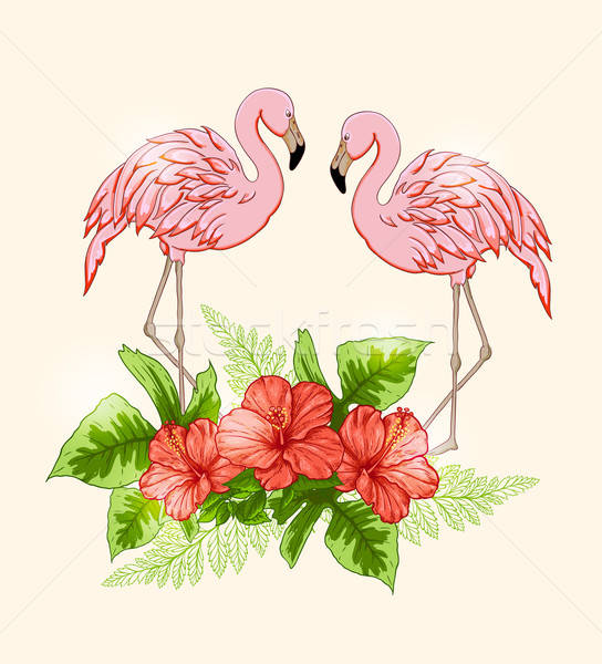 Background with flowers and pink flamingo Stock photo © Artspace