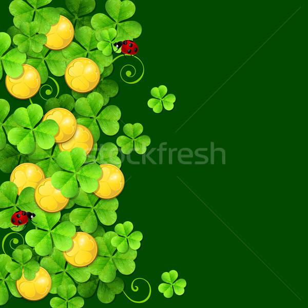 Verde trevo folhas dourado moedas dia de São Patricio Foto stock © Artspace