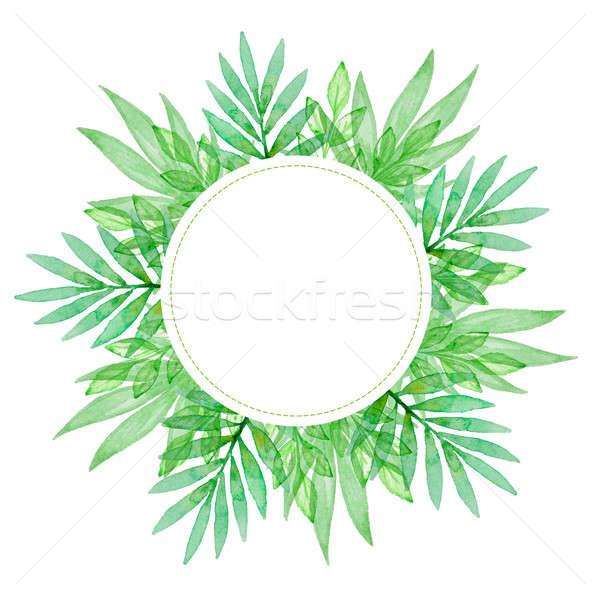 ストックフォト: 水彩画 · 緑の葉 · 手描き · フローラル · ツリー · デザイン