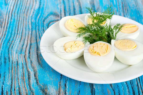 Gekocht Henne Eier grünen weiß Platte Stock foto © Artspace
