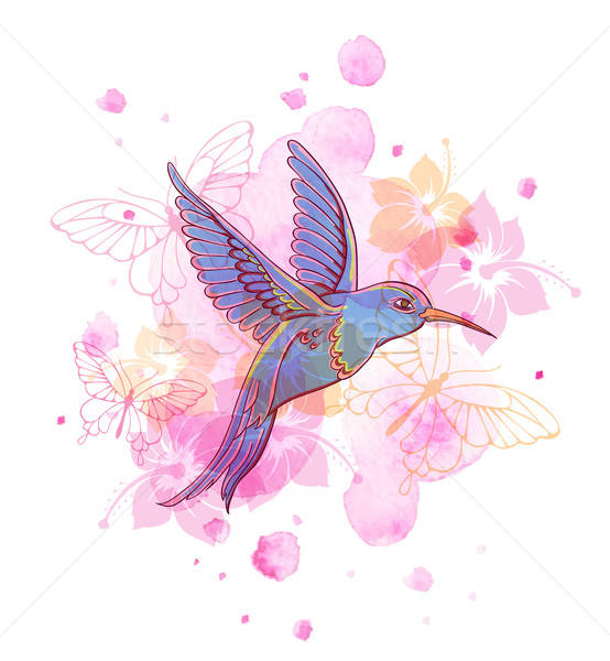 Stock photo: Abstract background with bird