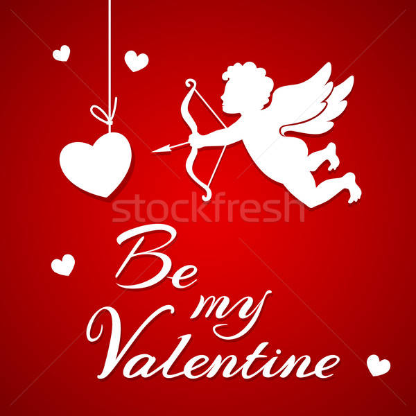 Paper cupid on a red background Stock photo © Artspace