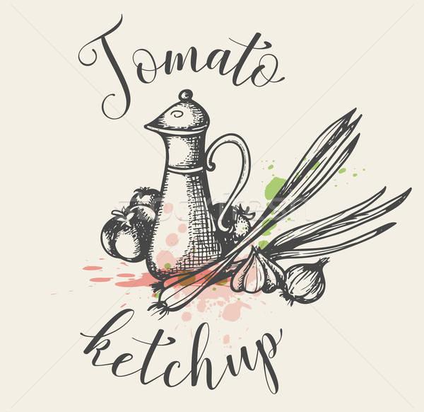 Vintage томатный кетчуп кувшин свежие овощи рисованной Сток-фото © Artspace