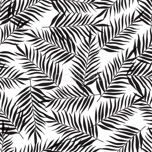 Stock photo: Seamless pattern with black palm leaves