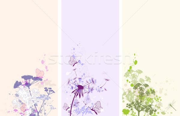 Foto stock: Floral · grunge · banners · vertical · vector · mariposas