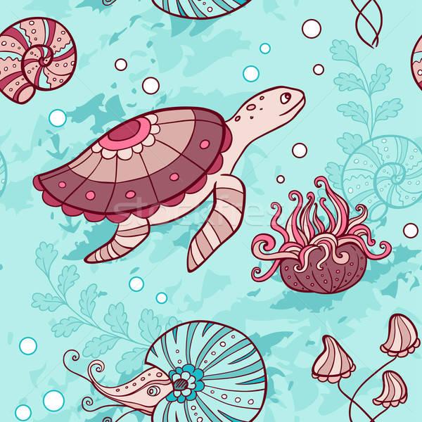 Seamless pattern with turtle and nautilus Stock photo © Artspace