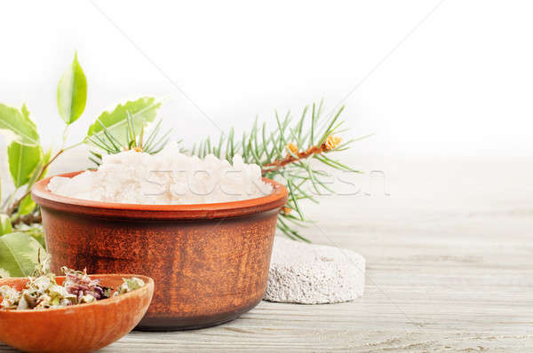 Aromatic bath salt and dried herbs Stock photo © Artspace