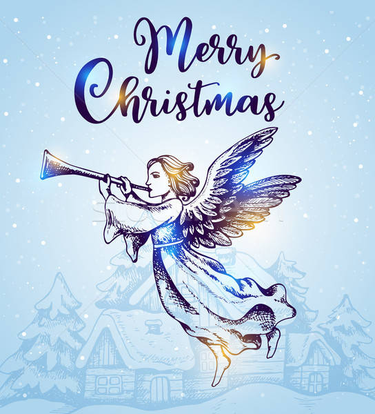 Christmas angel flies over houses Stock photo © Artspace