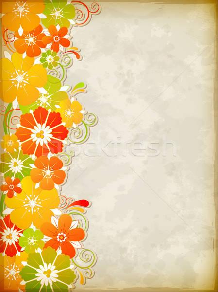Gelb floral Vektor Jahrgang gelben Blüten Blume Stock foto © Artspace