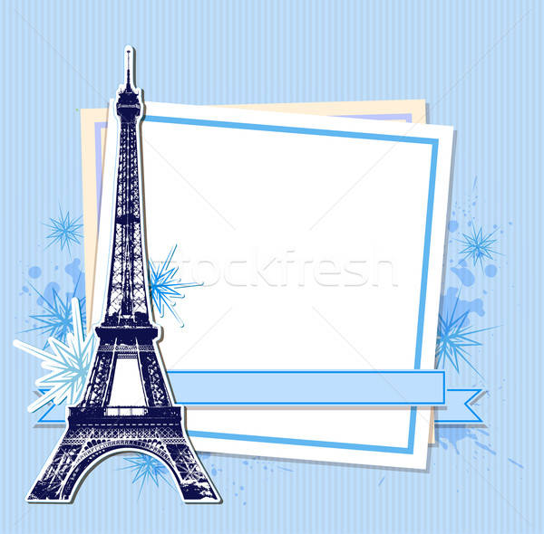 Mavi Noel Eyfel Kulesi beyaz levha kâğıt Stok fotoğraf © Artspace