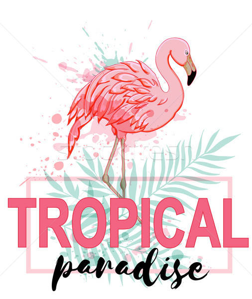 Pink flamingo and green palm leaves Stock photo © Artspace
