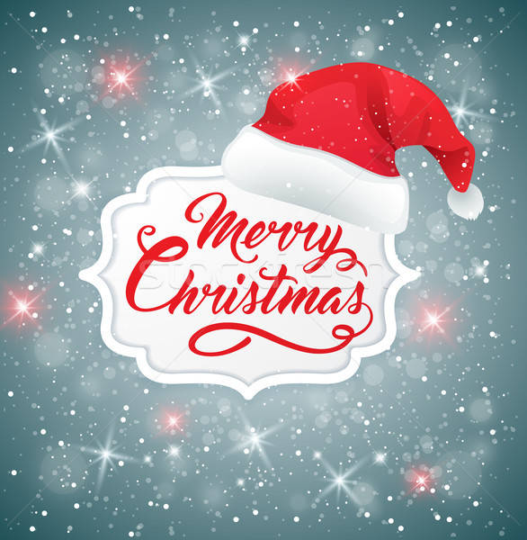 Christmas background with hat of Santa Claus Stock photo © Artspace