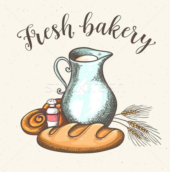 Sürahi süt taze ekmek bağbozumu mandıra Stok fotoğraf © Artspace