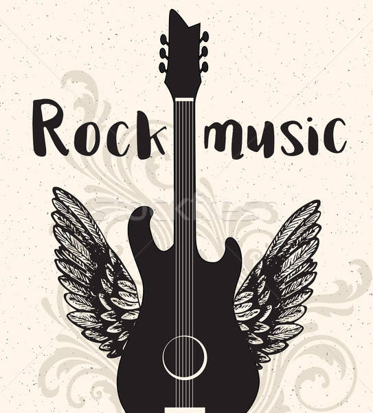 Vintage rock music poster with black guitar Stock photo © Artspace