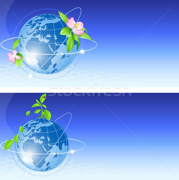 ストックフォト: 青 · 世界中 · ベクトル · 背景 · 草