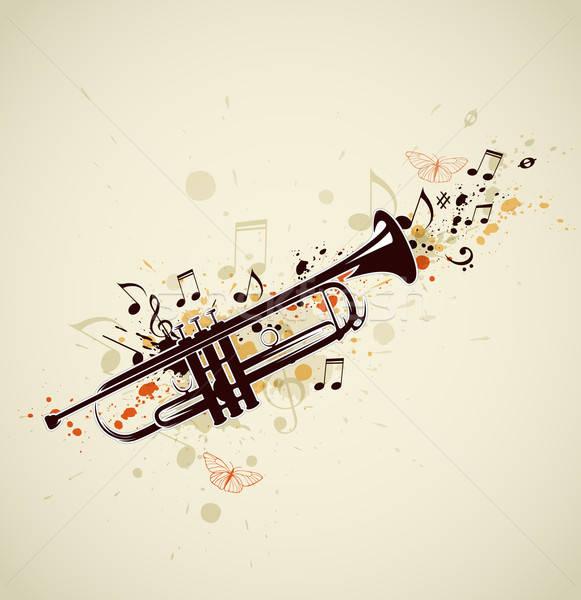 Abstrato trombeta notas música projeto preto Foto stock © Artspace