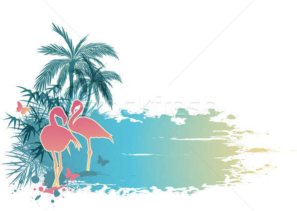 Palms and flamingo Stock photo © Artspace