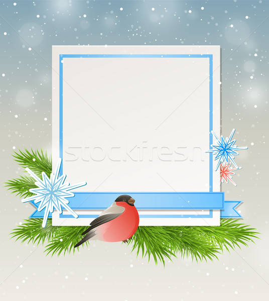 Bullfinch and white sheet of paper Stock photo © Artspace