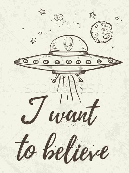 Fantasztikus UFO repülés űr kézzel rajzolt háttér Stock fotó © Artspace